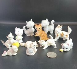Lot of 11 Vintage Cat Figurines Bone China and other material