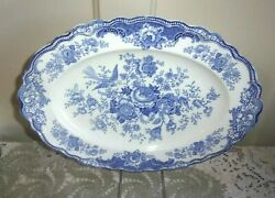 Crown Ducal Bristol 10.5 X 14 Inch Blue Scalloped Oval Platter C. 1931