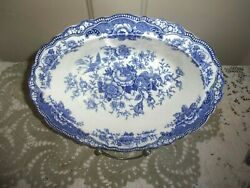Two Crown Ducal Bristol 10 Inch Blue Scalloped Oval Vegetable Bowls C. 1931