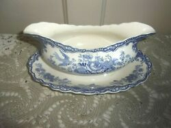 Crown Ducal Bristol 9 Inch Blue Scalloped Oval Gravy Boat With Underplate C 1931