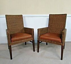Ethan Allen Shiloh Dining Chairs, Wicker And Leather Arm Chairs 13-6801