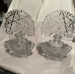 Vintage Clear Cut/pressed Glass Perfume Bottle With Art Deco Stopper. Set Of Two