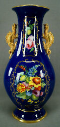 Minton Hand Painted Floral Gold And Cobalt Chinese Form Dragon Handle Vase 1820 B