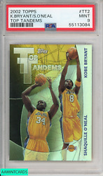 2002 Topps Kobe Bryant Shaquille Oneal Tt2 Top Tandems Lakers Psa 9 Mint