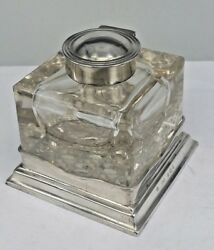 908 Edwardian Square Silver And Cut Glass Inkwell Set Into A Silver Base