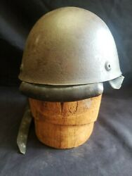 Original Paint Wwii Italian Paratrooper Helmet Marked 58 Leather Chinstrap