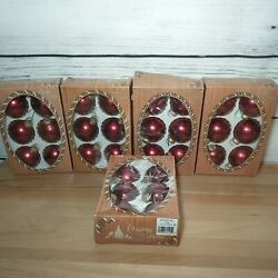 Christmas By Krebs Lot Of 5 Boxes 30 Ornaments Scarlet Red Burgundy Red
