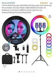 18 Inch Rgb Ring Light Amazker Led Ring Light With Stand And Phone Holder 25 Col