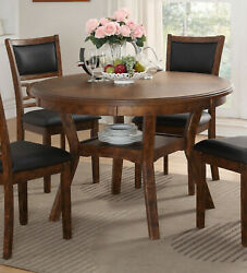 Brown Round Table And 4 Chairs 5pc Dining Set Pu Upholstery Seatback And Storage