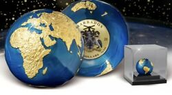 2021 Barbados 3 Oz Silver Gold Plating Blue Marble Planet Earth Spherical W/ Ogp
