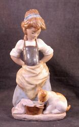 Lladro 1970's Kitchen-maid With Dog In Original Box. Hand Made In Spain. 2096