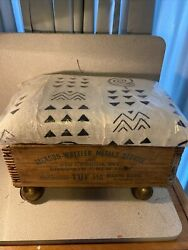 Antique Advertising Crate Box Stool On Wheels African Cloth Bench Seat 18 By 12