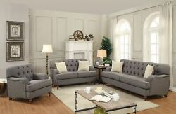 Contemporary Style 2pc Tufted Sofa Set Gray Linen Fabric Living Room Furniture
