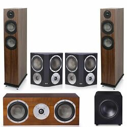 Klh Concord 5.1 Complete System Walnut Veneer With Klh Stratton 10 Powered