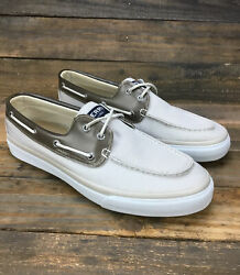 Mens Sperrys Top Sider Beige Canvas 2 Eyed Boat Shoe Size 11.5 M Sts13136