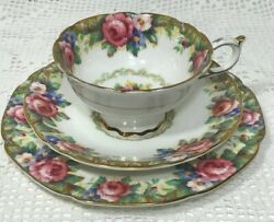 Paragon Tapestry Rose Trio Tea Cup + Saucer + Side Plate Pink Cabbage Rose