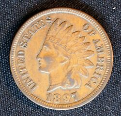 1897 Indian Head One Cent Philadelphia Mint Penny U.s. Collector 1c Au Coin
