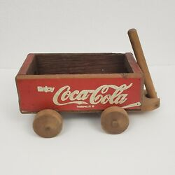 Vintage Coca Cola Red Wooden Crate Box Wagon Coke Soda Pop Wood Pull Collectible