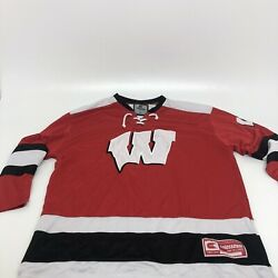 Wisconsin Badgers Bucky Hockey Jersey Colosseum Sewn NCAA College Men#x27;s Size L $39.99