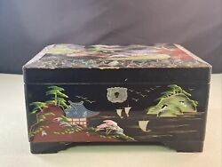 Vintage Japanese Black Lacquer Abalone Inlay Mt. Fuji Scenic Music Jewelry Box