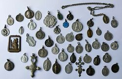 Lot Antique And Vintage Religious Medals Plaque Fobs Silver Plated Brass Aluminium
