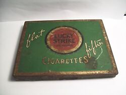 Vintage Old Antique Cigarette Tin Lucky Strike Flat Fifties Tobacco Tin Case