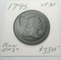 1795 Rare Flowing Hair U.s. Large Cent Early Bold Strike Vf - Xf - Free Shipping