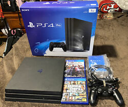 Playstation Ps4 Pro 1tb Ssd Black Console With Box/ Inserts + 2 Games Free Ship
