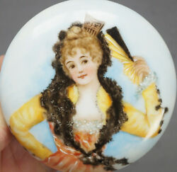 Limoges France Hand Painted Victorian Lady With Shawl And Fan Powder Jar C. 1890s