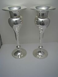 Pair Of Sterling Silver Candlesticks Vases Robert Mosley Sheffield England C1911