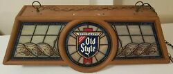Vintage Old Style Beer Pool Table Light With Round Logo Plastic Stained Glass