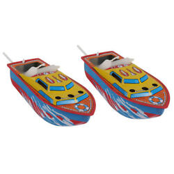 2pcs Collectible Candle Powered Steam Boat Tin Toy Floating  Boat Toys