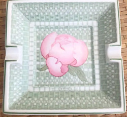 Hermes Tray Ashtray Plate Peony Painting Discontinued New