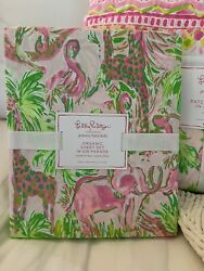 Nwt Pottery Barn And Lilly Pulitzer On Parade Twin - Sheets Pink Animals Vhtf
