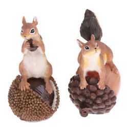 Delicate Resin Squirrel Statue With Pine Cone Pack 2pcs, Funny Animal Sculpture,