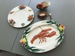 Decorative Fitz And Floyd Fish Market Pattern Plate, Platter, Gravy And Butter Bow