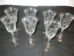 7 Cambridge Rose Point Wine Glasses Or Goblets On Stems 8.5 Excellent Condition