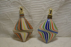 Set Of Two Antique Glass Perfume Bottles Hand Blown
