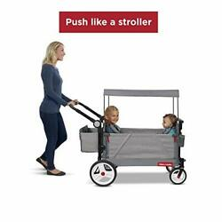 Radio Flyer Odyssey Stroller Wagon, Baby Stroller Wagon With Canopy And Bag, Gre