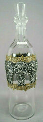 European Cut Glass And Silverplate Grapes And Brass Overlay Decanter Circa 1890s
