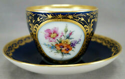 Kpm Berlin Hand Painted Floral Floral Cobalt And Gold Tea Cup And Saucer E