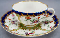 Dr Wall Worcester Hand Painted Floral Cobalt Green And Gold Tea Cup And Saucer D