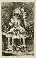 Antique Etching Engraving Signed Jacques Gabriel Huquier 1725-1805 Fountains