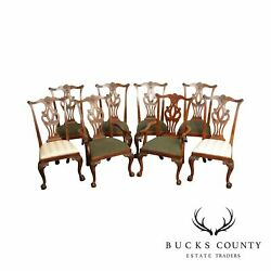 Drexel Heritage Mahogany Set 8 Chippendale Style Dining Chairs