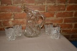 Vintage American Brilliant Cut Crystal Water Pitcher With Matching Glasses
