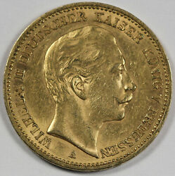 Germany Prussia 1889 20 Mark Gold Coin Au Almost Uncirculated Km 516 Short Wing