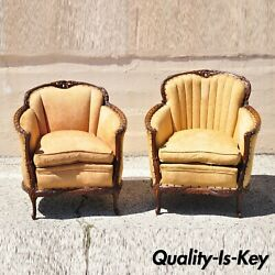 Antique Hollywood Regency French His And Hers Carved Mahogany Club Chairs - A Pair