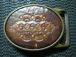Hippie Abstract Leather Brass Belt Buckle Vintage Rare Tech Ether X Colonial