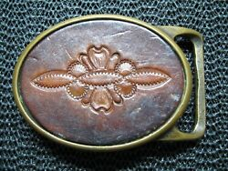 Tech Ether Guild X Colonial Leather Hippie Brass Belt Buckle Vintage Rare Usa