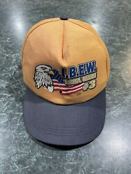 Local Union 3 Ibew Electrical Workers Union Yellow Faded Distressed Snapback Hat